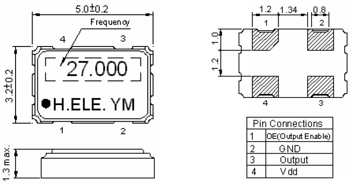 hso531s晶体振荡器,3.3v供电电压,四脚贴片式有源晶振