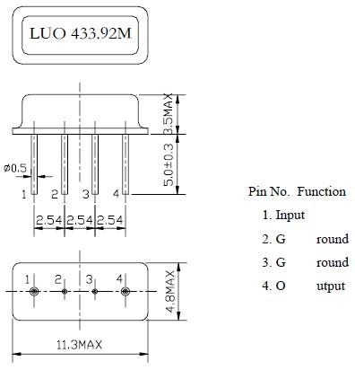 声表谐振器,遥控专用f11四脚